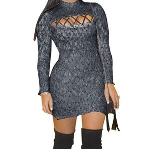 high-neck hollow elegant knitted dres